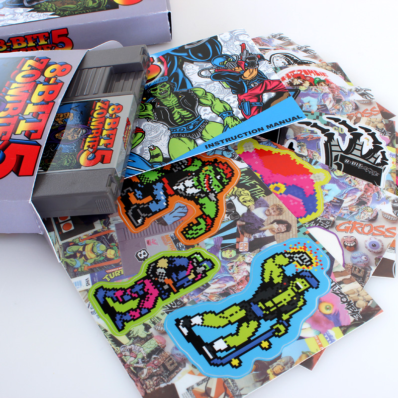 8-bit zombie custom sticker pack nintendo game cartridge box