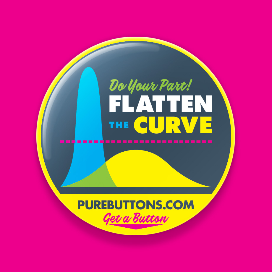 Flatten The Curve Coronavirus Awareness Button